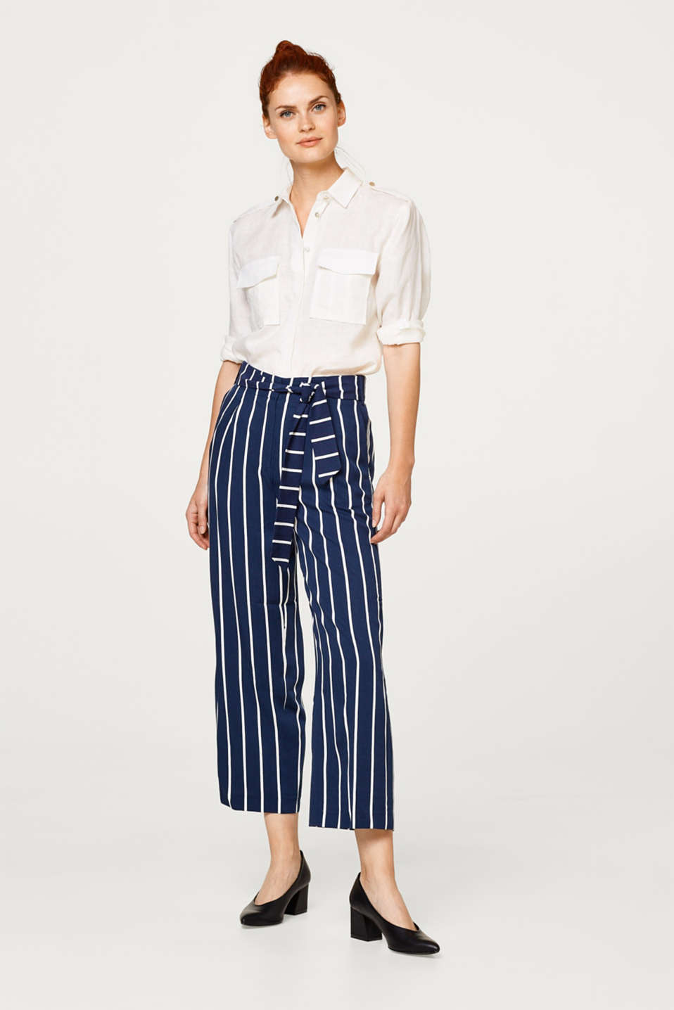 Esprit - Lightweight culottes with distinctive stripes