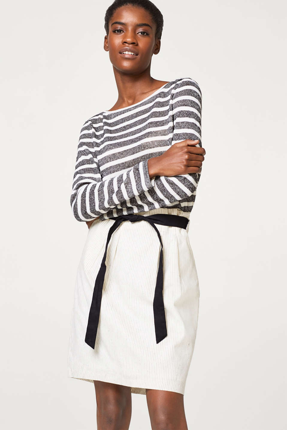 Esprit - Fine striped paperbag skirt in blended linen