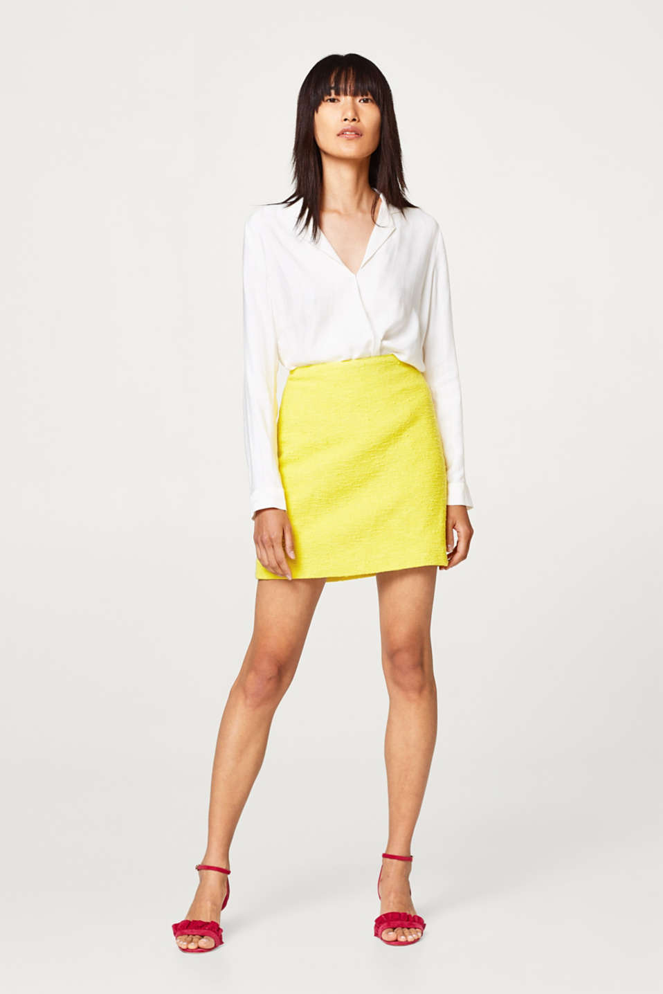 Esprit - Neon-coloured skirt in summer bouclé