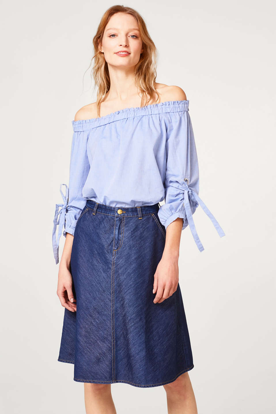 Esprit - Flared denim skirt made of lightweight denim