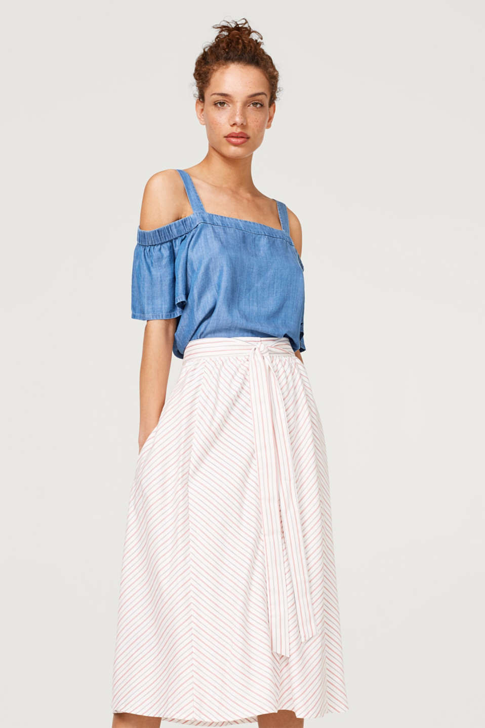 Esprit - Midi skirt with button placket