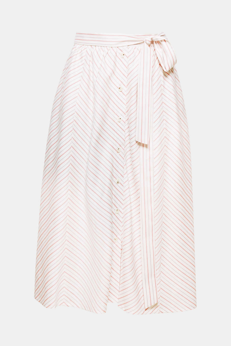 Modern style with retro charm: this swirling midi skirt with a centre button placket, diagonal stripes and a tie-around belt is one of the trendiest styles this summer!