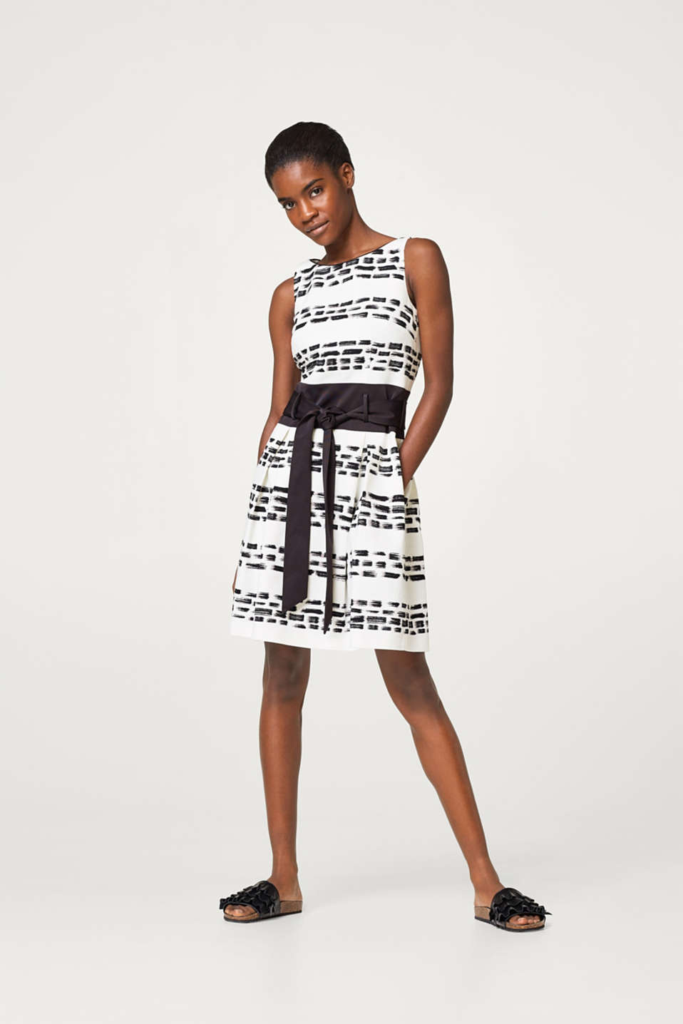 Textured dress with a corded ribbon waistband and belt