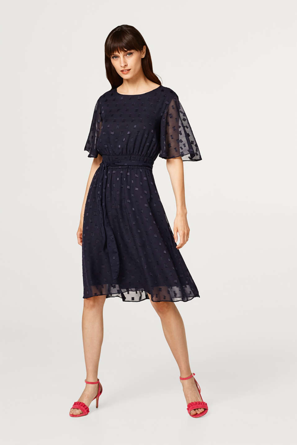 Chiffon dress with a textured pattern and bow