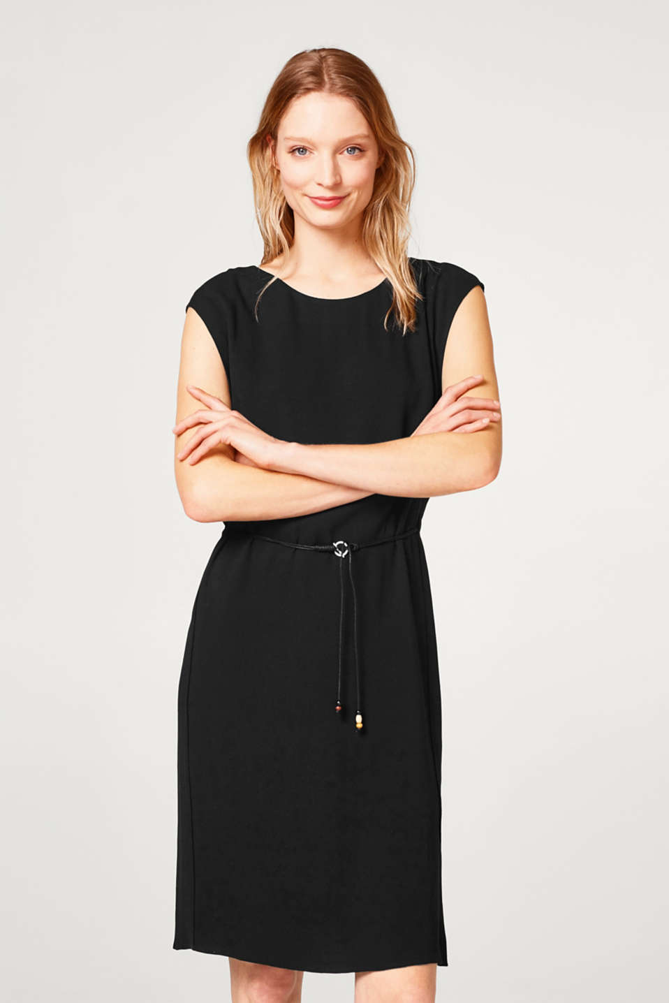 Esprit - Crêpe dress with a layered effect and drawstring waist