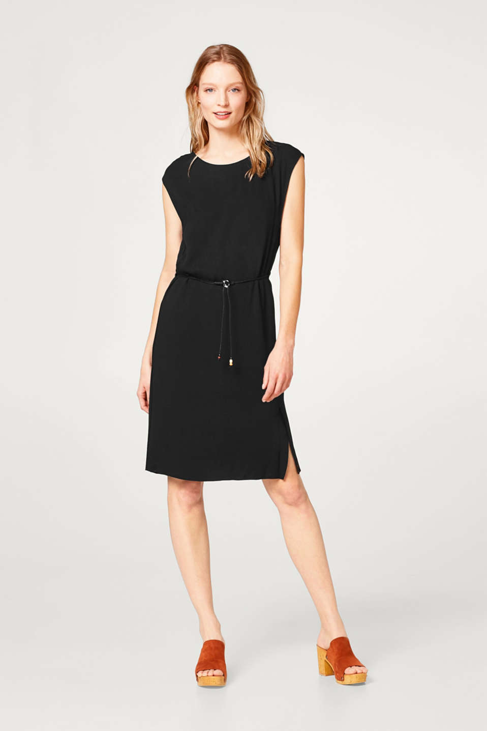 Crêpe dress with a layered effect and drawstring waist
