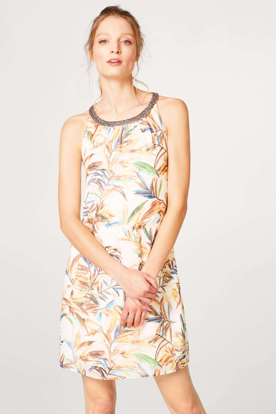 Esprit - Lightweight chiffon dress with a print and decorative jewellery