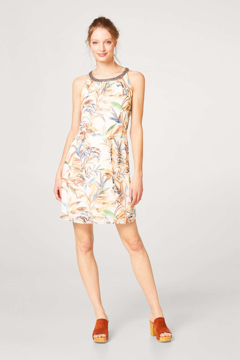 Lightweight chiffon dress with a print and decorative jewellery