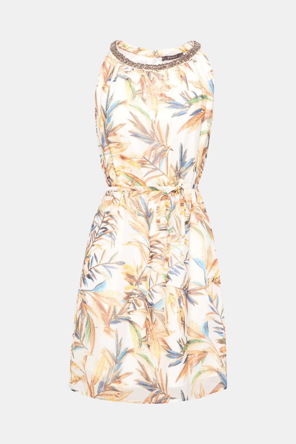 A colourful leaf print decorates the fabric, metal beads decorate the neckline: this dress in an A-line cut in delicate chiffon can be worn with or without a belt!