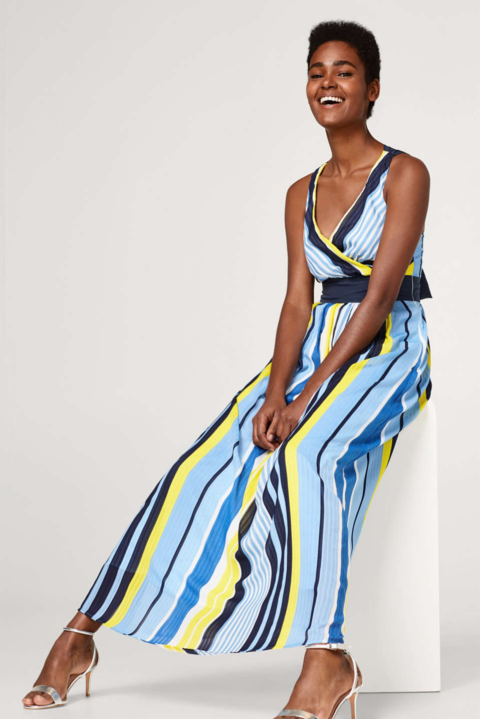 Esprit - Striped V-neck maxi dress
