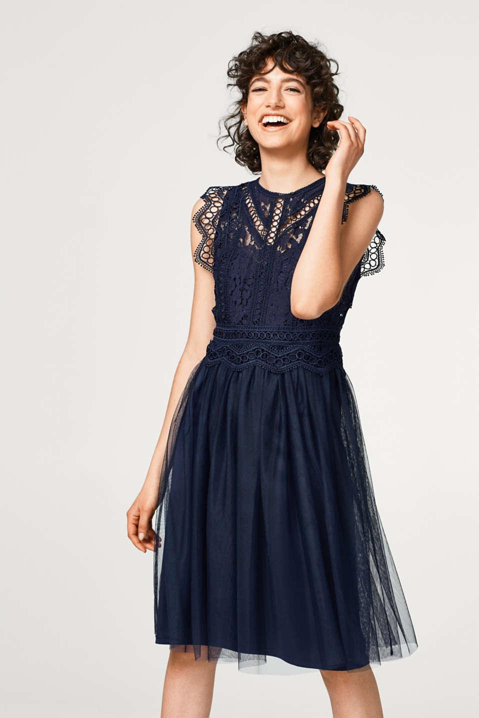 Esprit - Kleid mit Spitzen-Oberteil und Tüll-Rock im Online Shop kaufen