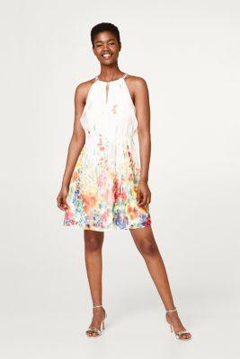 Chiffon kleid mit print und pailletten besatz