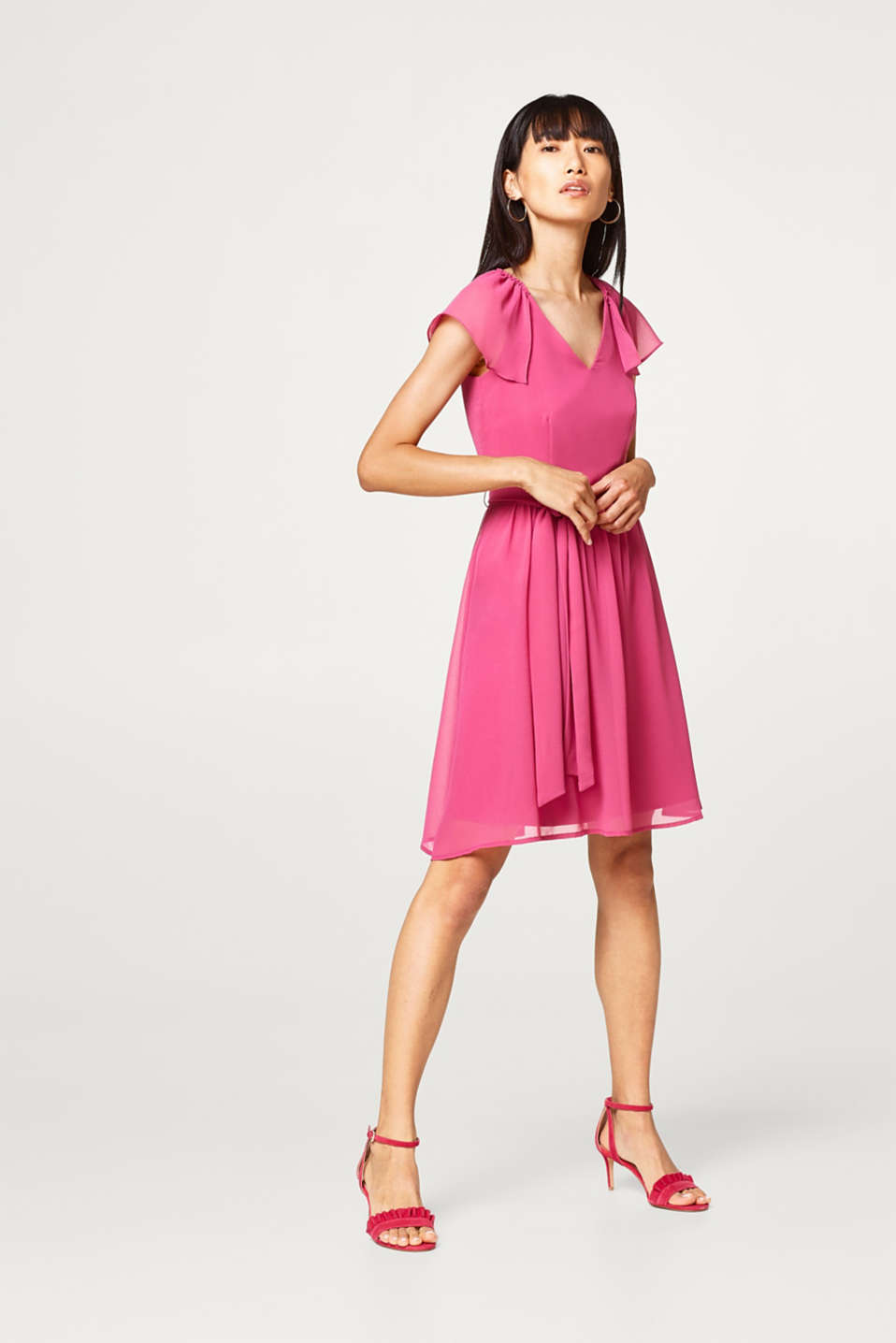 Esprit - Lightweight chiffon dress with cap sleeves