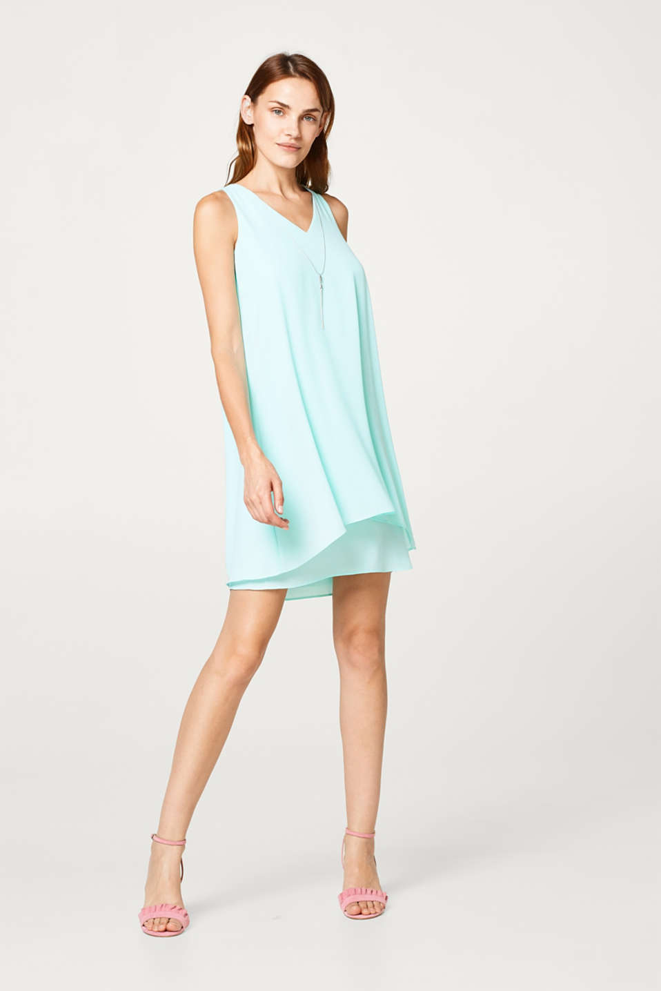 Esprit - Layered-look chiffon dress with a detachable chain