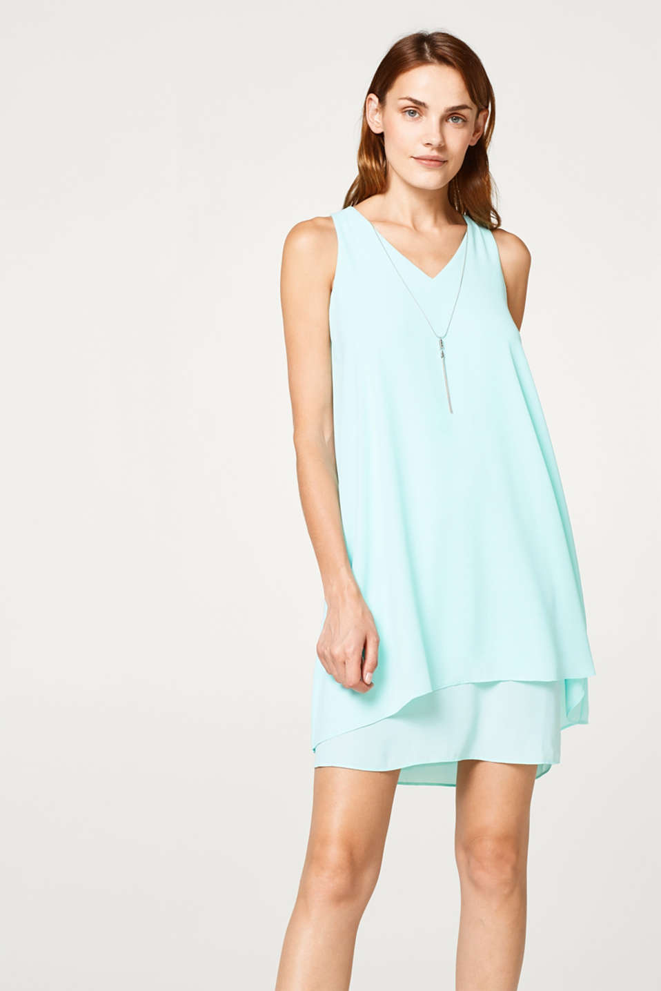 Layered-look chiffon dress with a detachable chain
