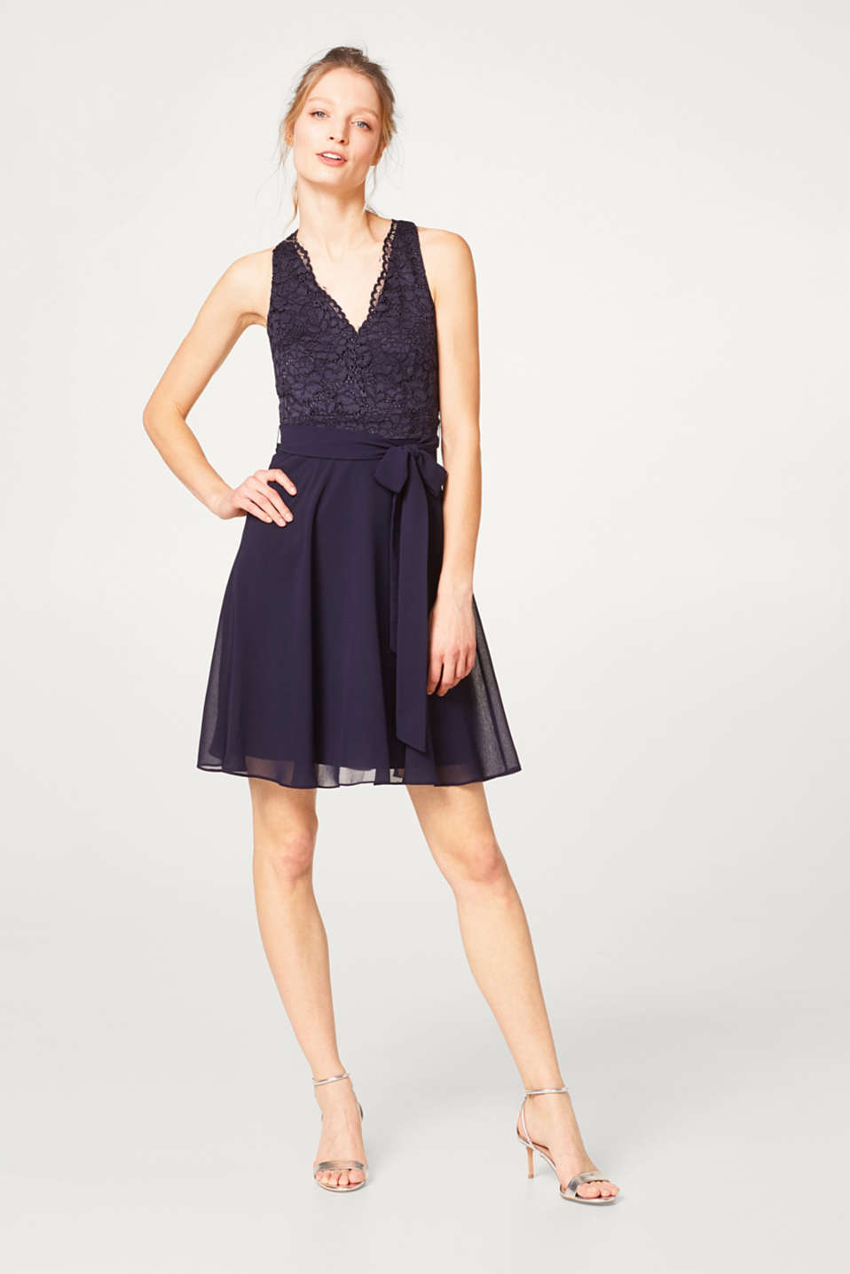 Flared lace and chiffon dress