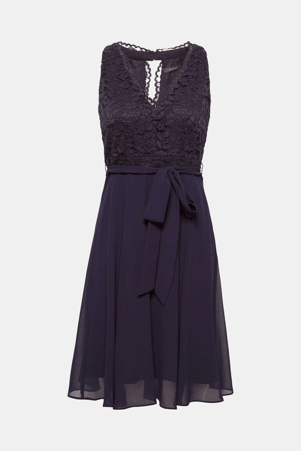 This airy cocktail dress made of 3-d effect floral lace featuring a strapless top and swirling chiffon skirt + wide, tie-around belt looks feminine and elegant!