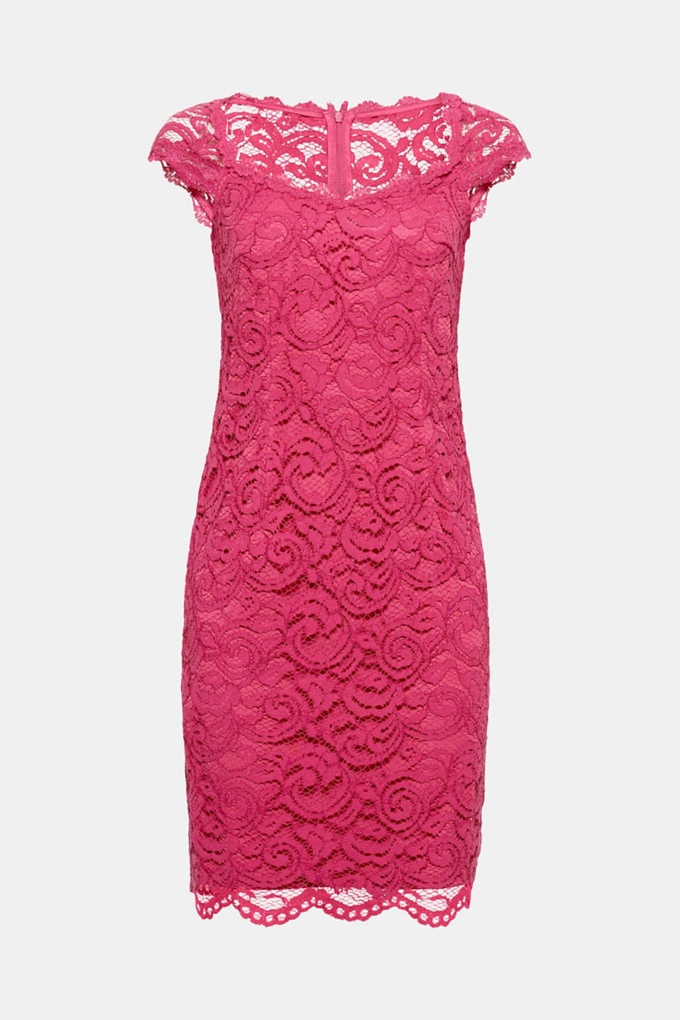 Coloured lace can be just as stunning - as this sexy, figure-hugging shift dress with a beautiful neckline and wide shoulder straps proves!