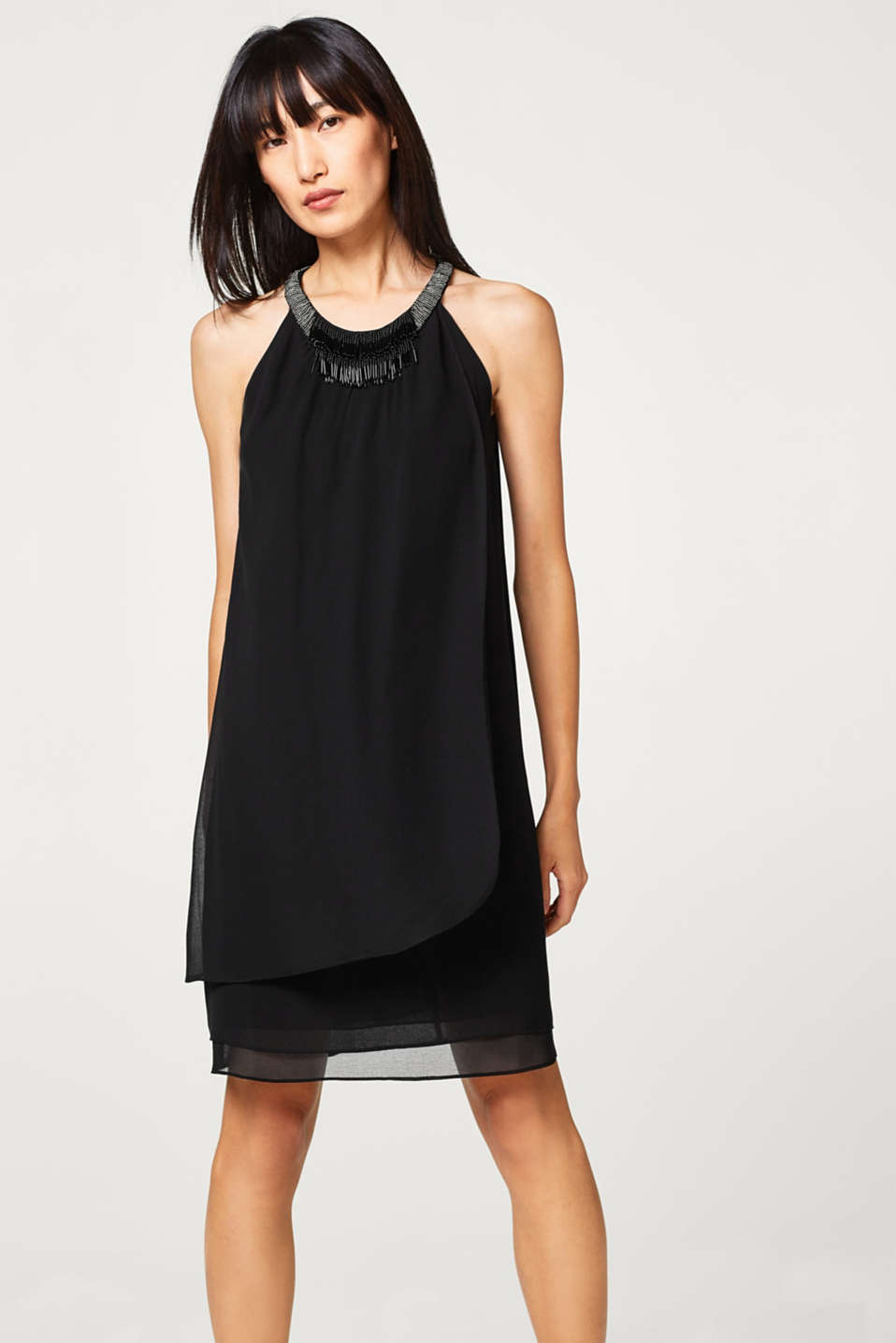 Esprit - Chiffon dress with a layered effect and decorative stays