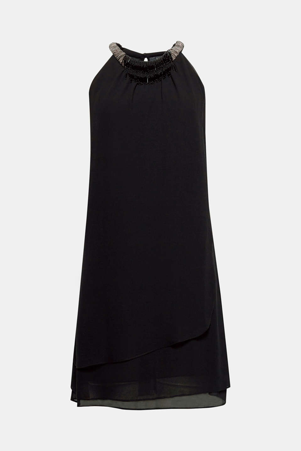 Put it on and look cool: this chiffon dress wows with its layered front section plus beads and fringing on the neckline!