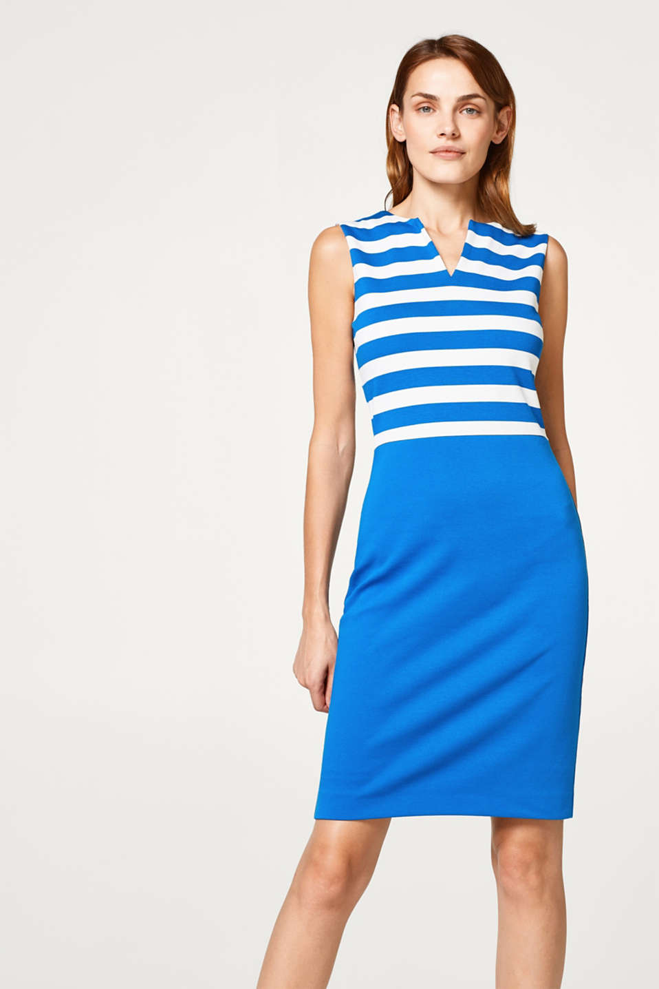Esprit - Colour blocking dress in dense stretch jersey