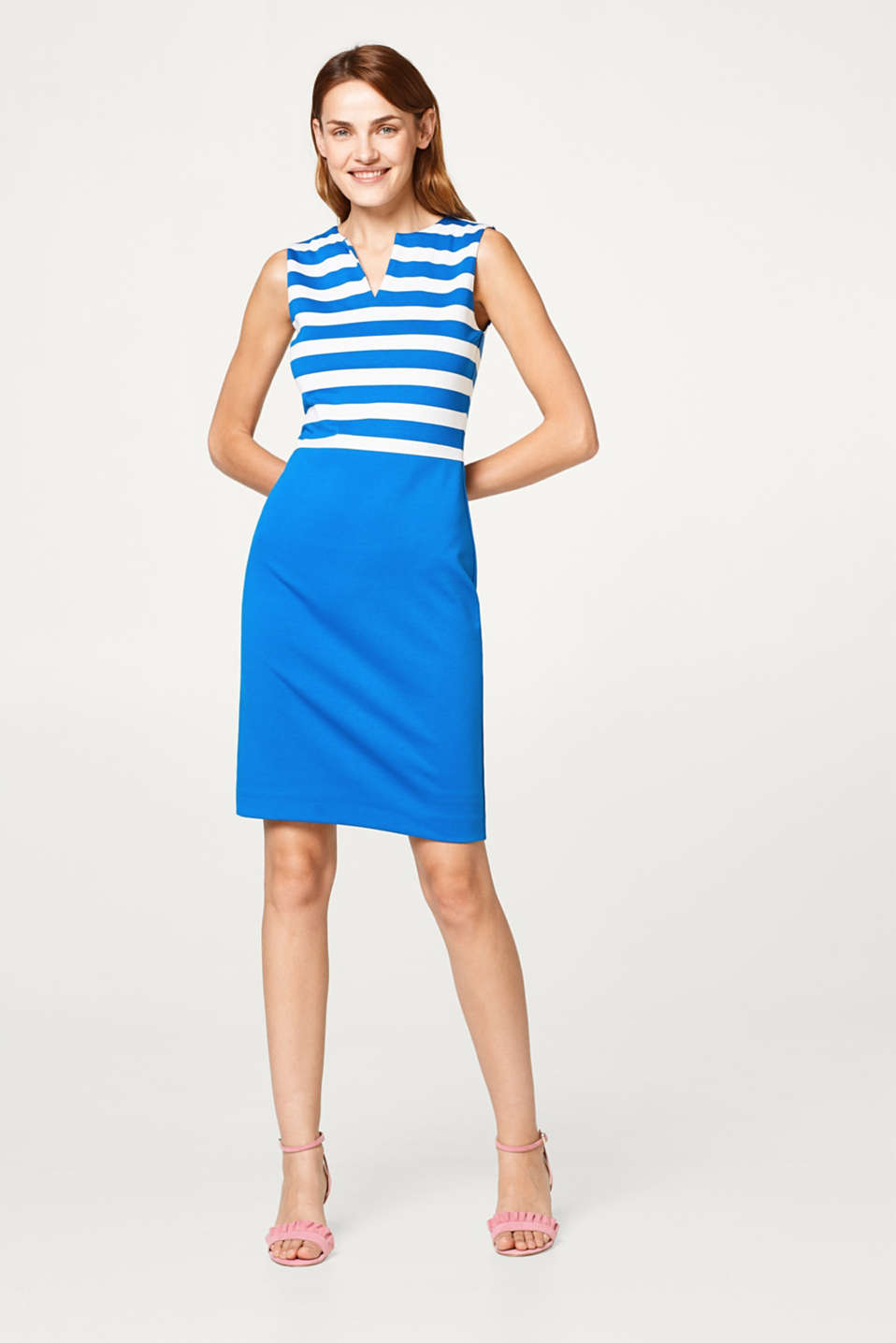 Colour blocking dress in dense stretch jersey