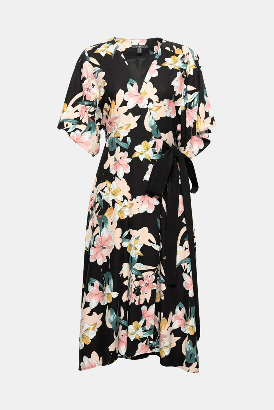 Inspired by Asia: you will quickly become the fashion centre of the room in this stylish midi dress made of flowing crêpe with a distinctive, colourful floral print and feminine wrap-over effect!