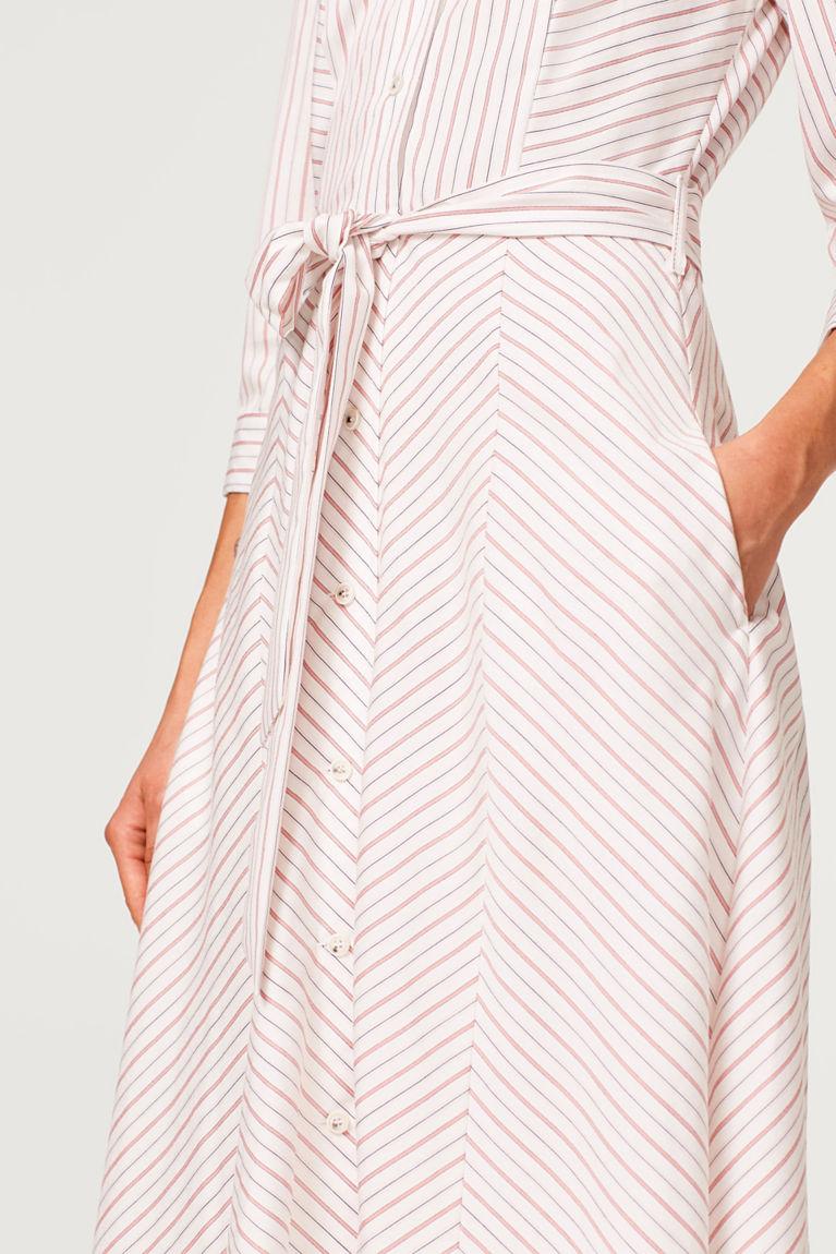Hemdblusenkleid mit Streifen-Dessin