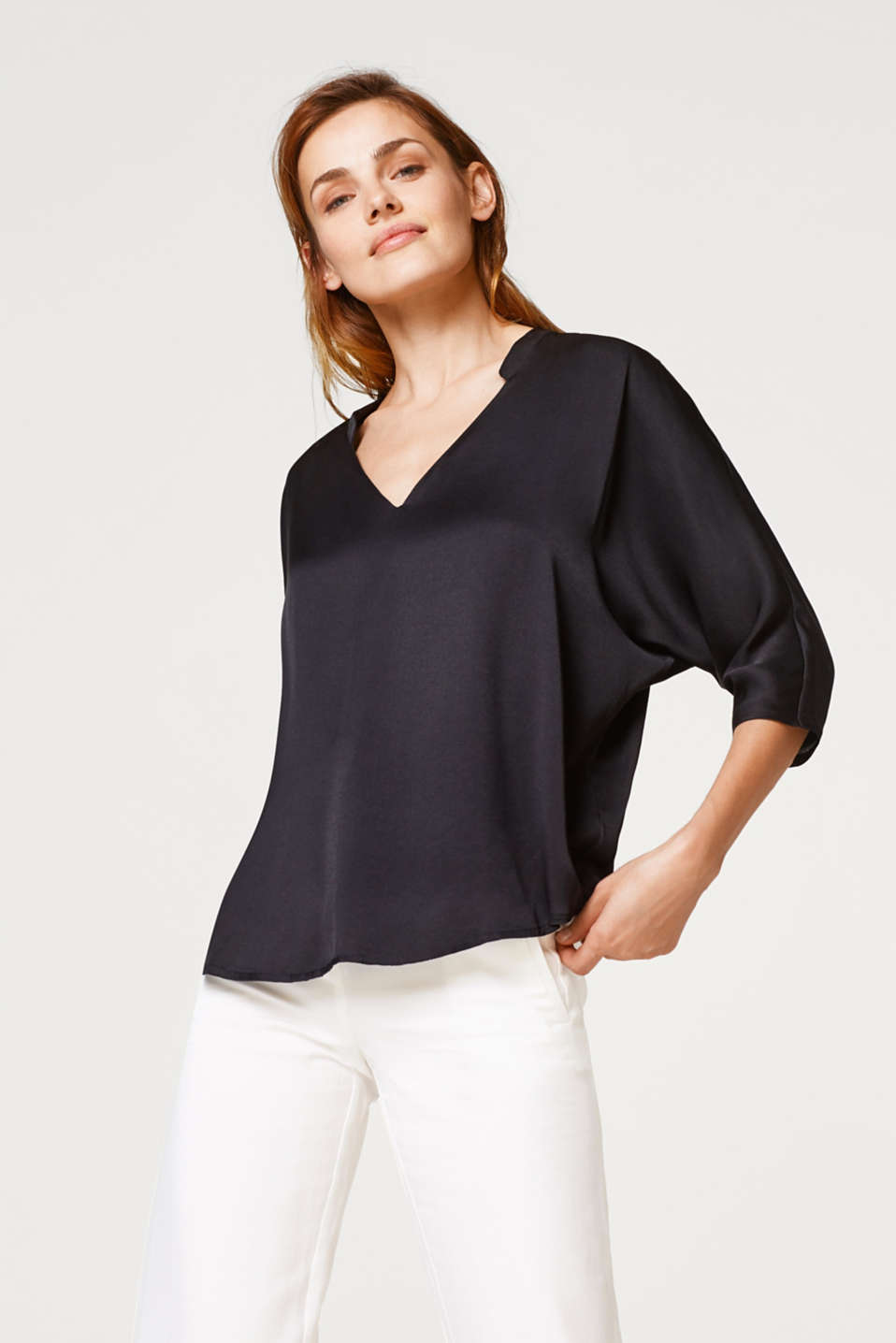Esprit - Fine textured blouse with batwing sleeves