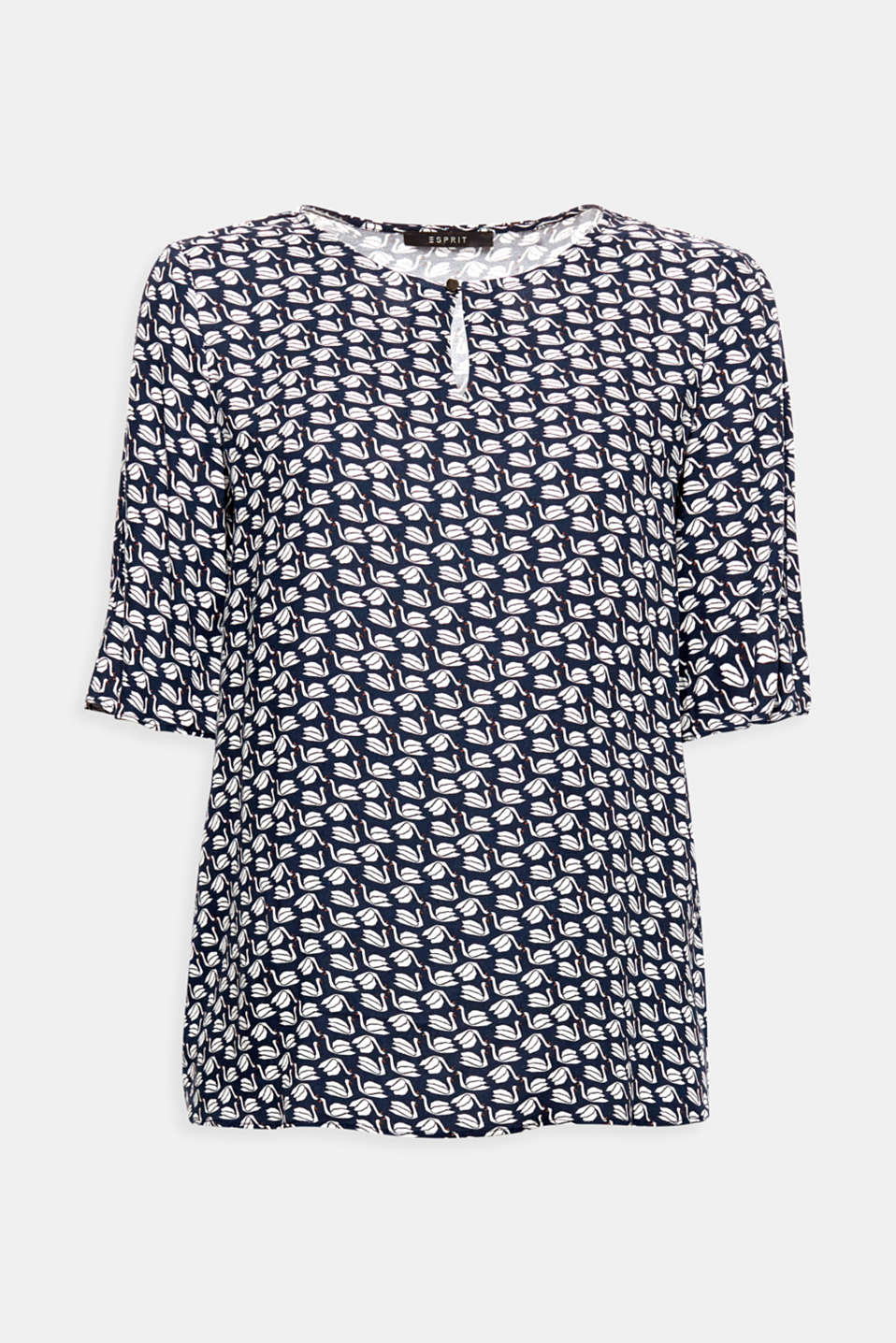 The slits in the sleeves, flowing material and decorative swan print give this blouse its airy look!