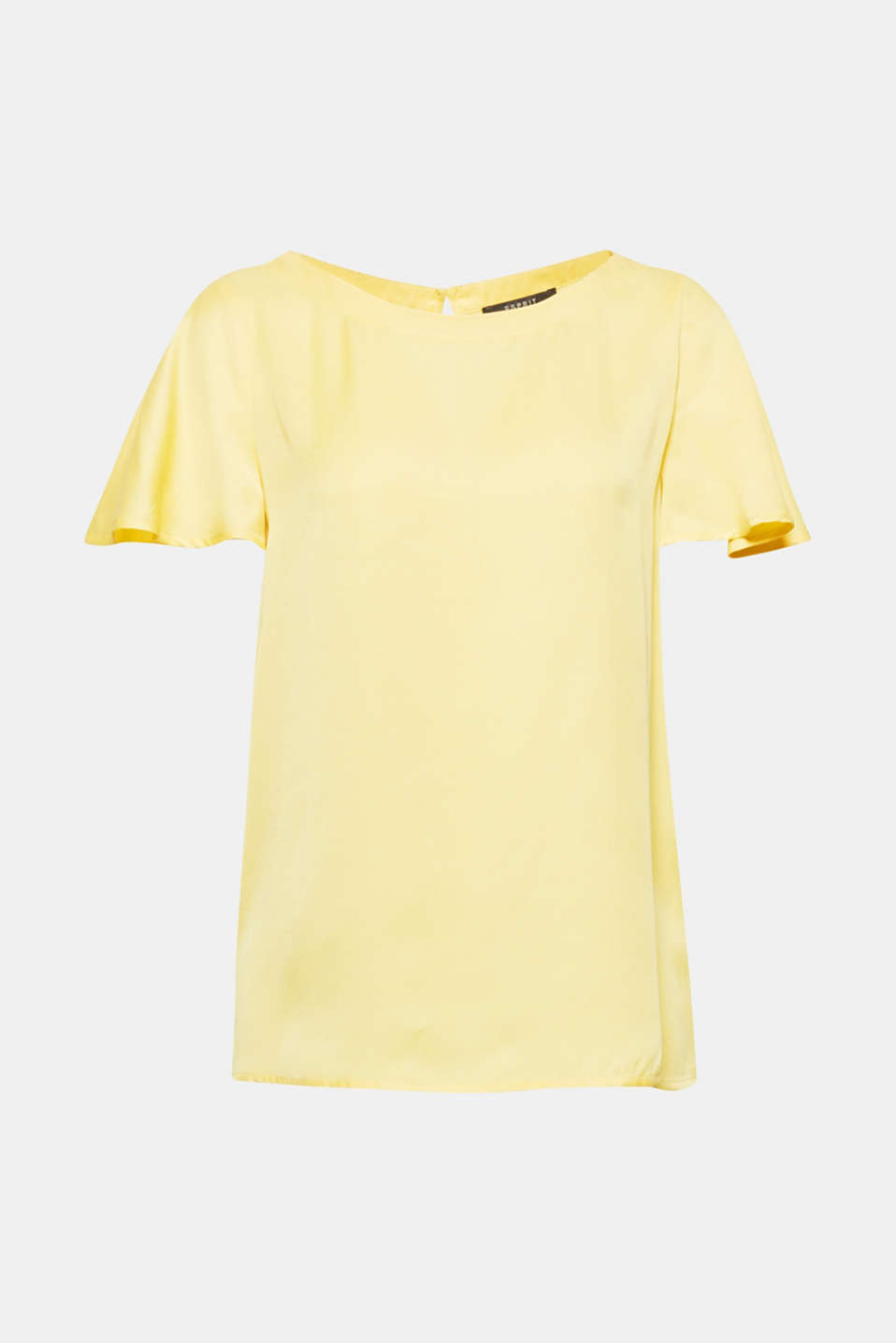 This eye-catching blouse in trendy yellow with short flounce sleeves will gibe your spring look that certain something!