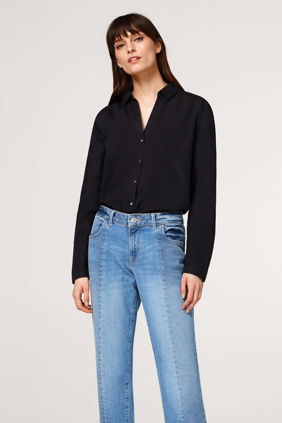 Esprit - Airy cotton blouse with shirt collar