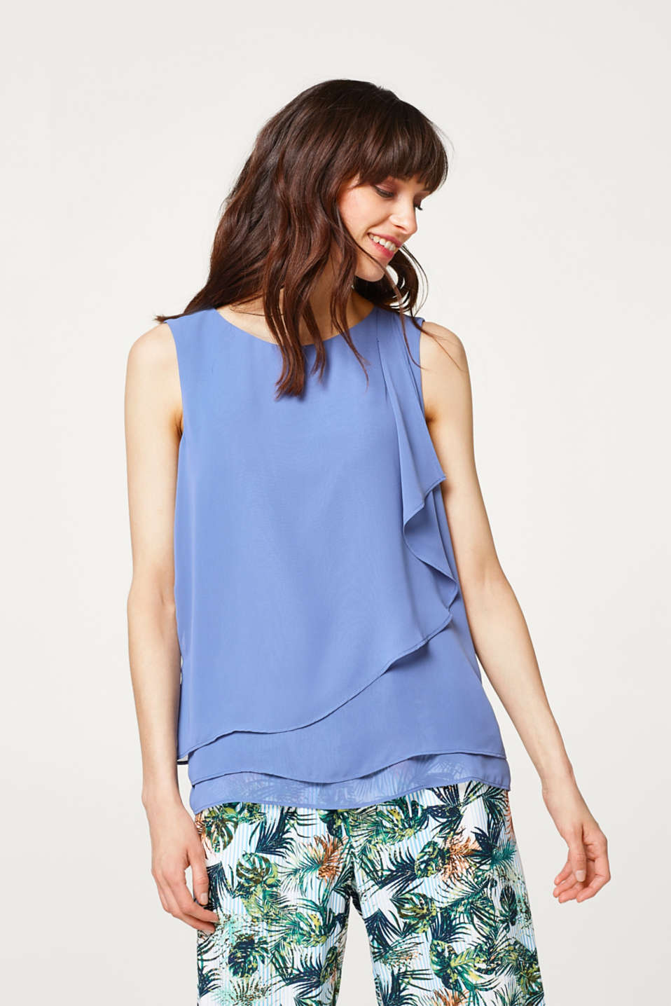 Esprit - Chiffon blouse top in a layered look