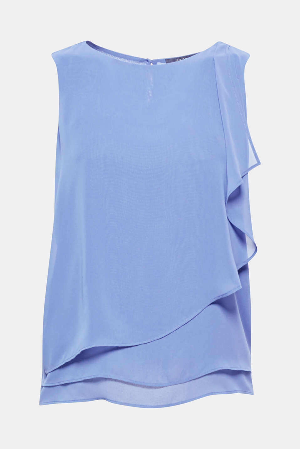 This dainty chiffon top with a softly draped, layered front section is perfect for lots of occasions and looks!