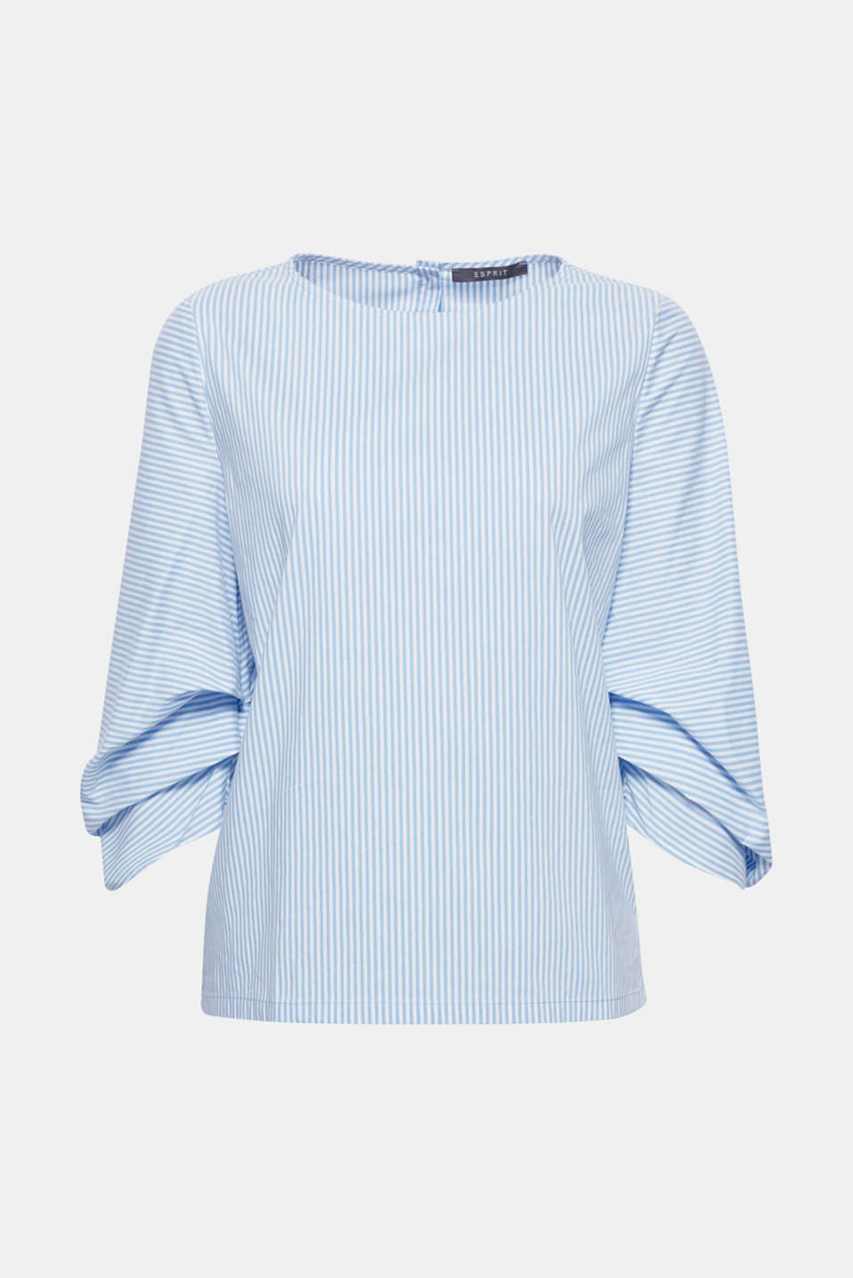 Adorable, reinterpreted stripes: on this stretch blouse featuring voluminous, pleated three-quarter length sleeves and a back button placket!