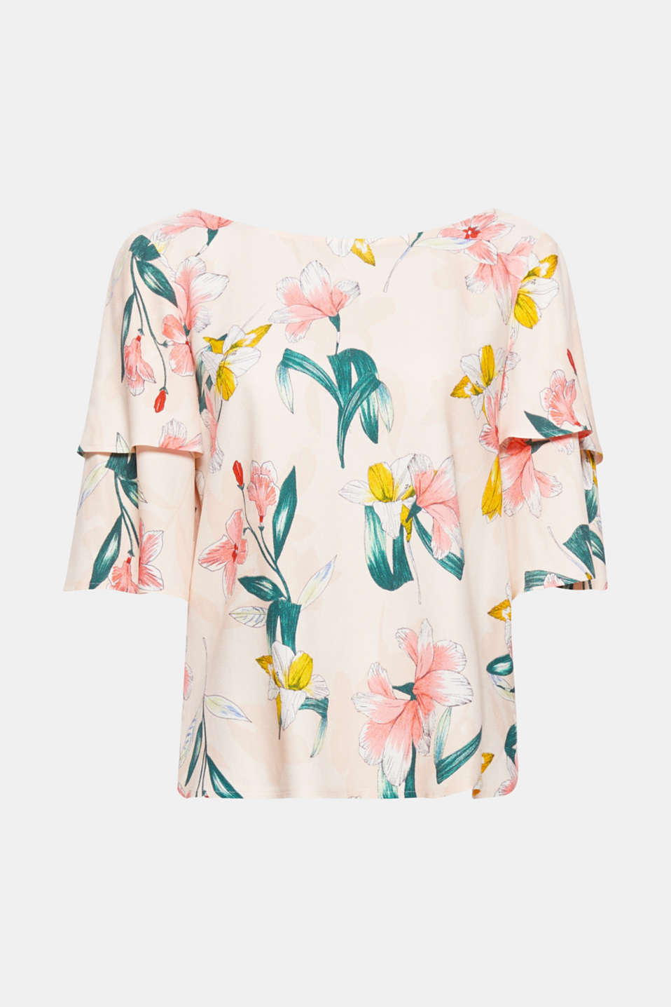 Romantic floral print meets pretty flounce sleeves: this blouse quickly stands out of the crowd with its distinctive bow detail, making your summer outfit absolutely complete.