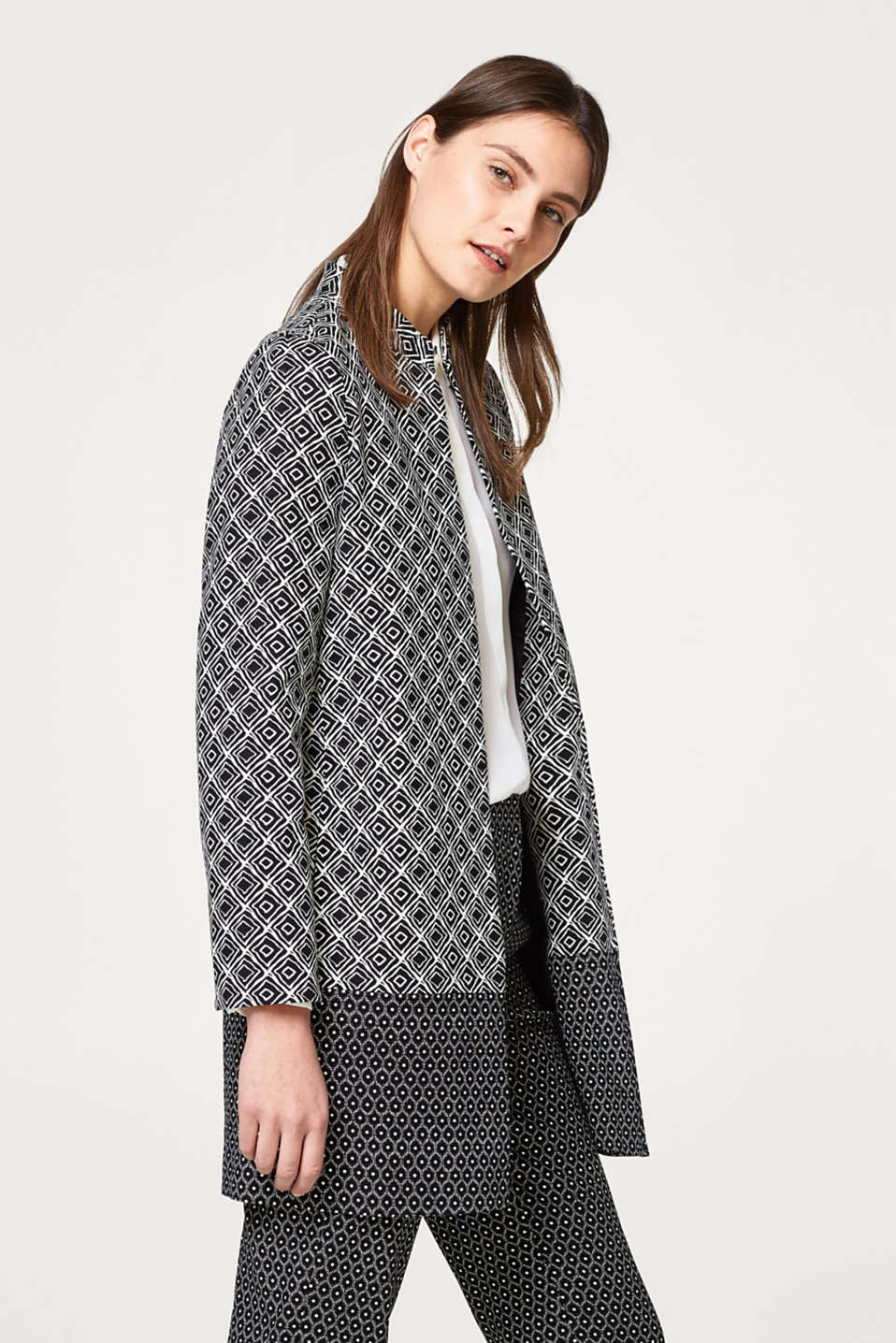 Esprit - Stretch cotton coat with two-tone prints