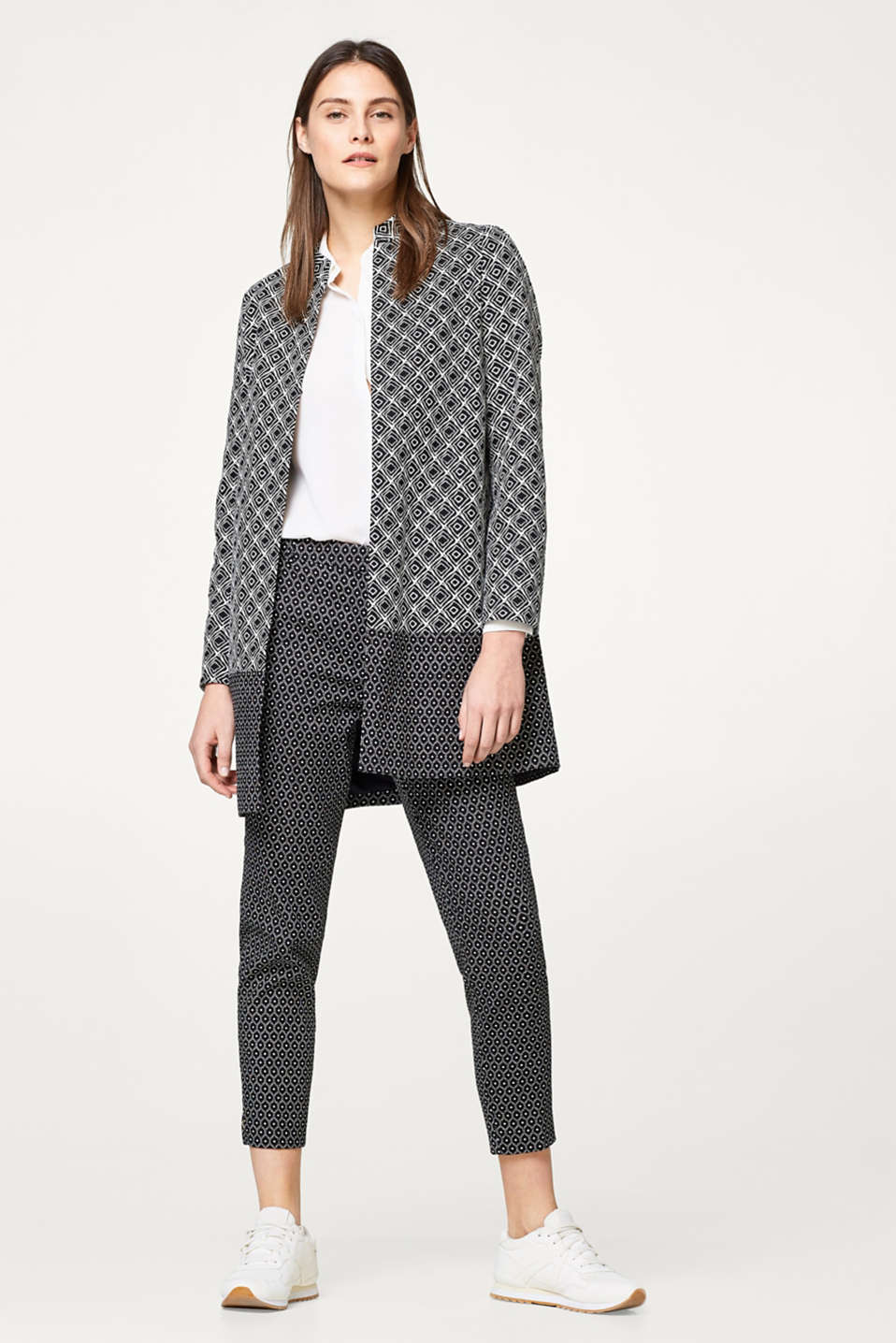 Stretch cotton coat with two-tone prints