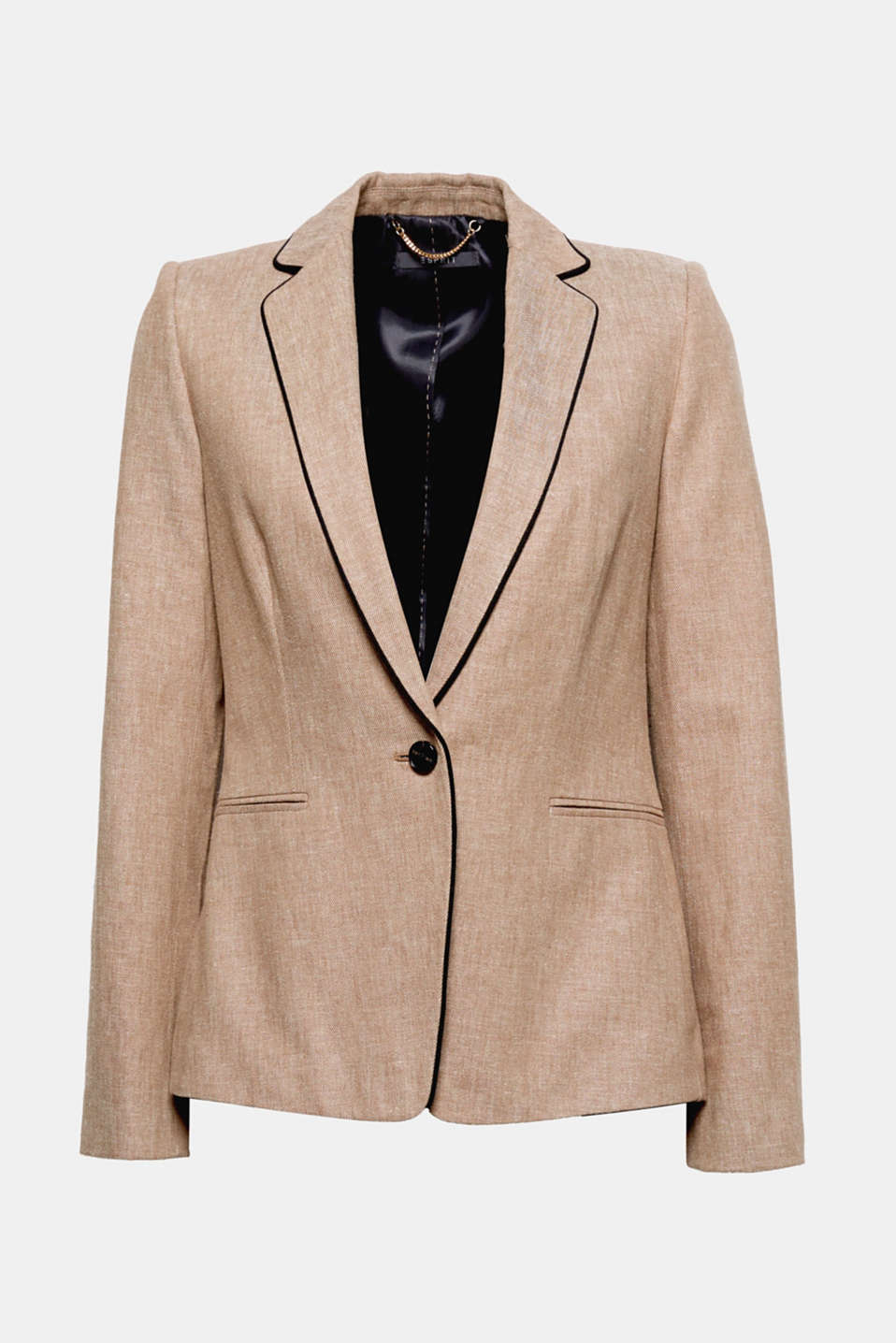 Fitted linen blend blazer with piping