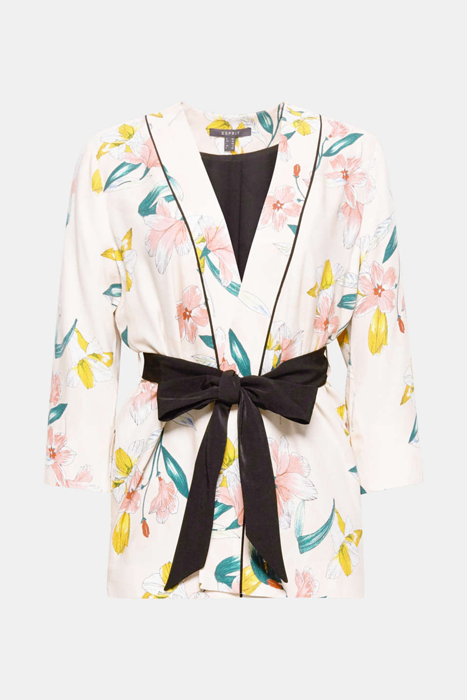 Feminine fashion piece: Colourful flowers made of delicate fabric make this stylish kimono with a tie-around belt and three-quarter sleeves an eye-catching piece!