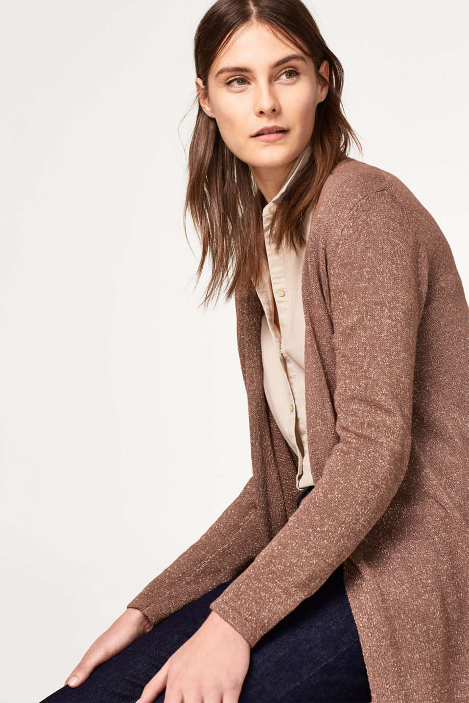 Esprit - Open long cardigan with a subtle glitter finish