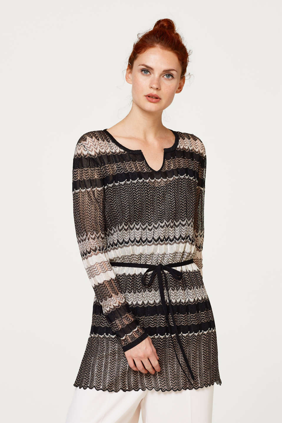Esprit - Tunic with a zigzag pattern and belt