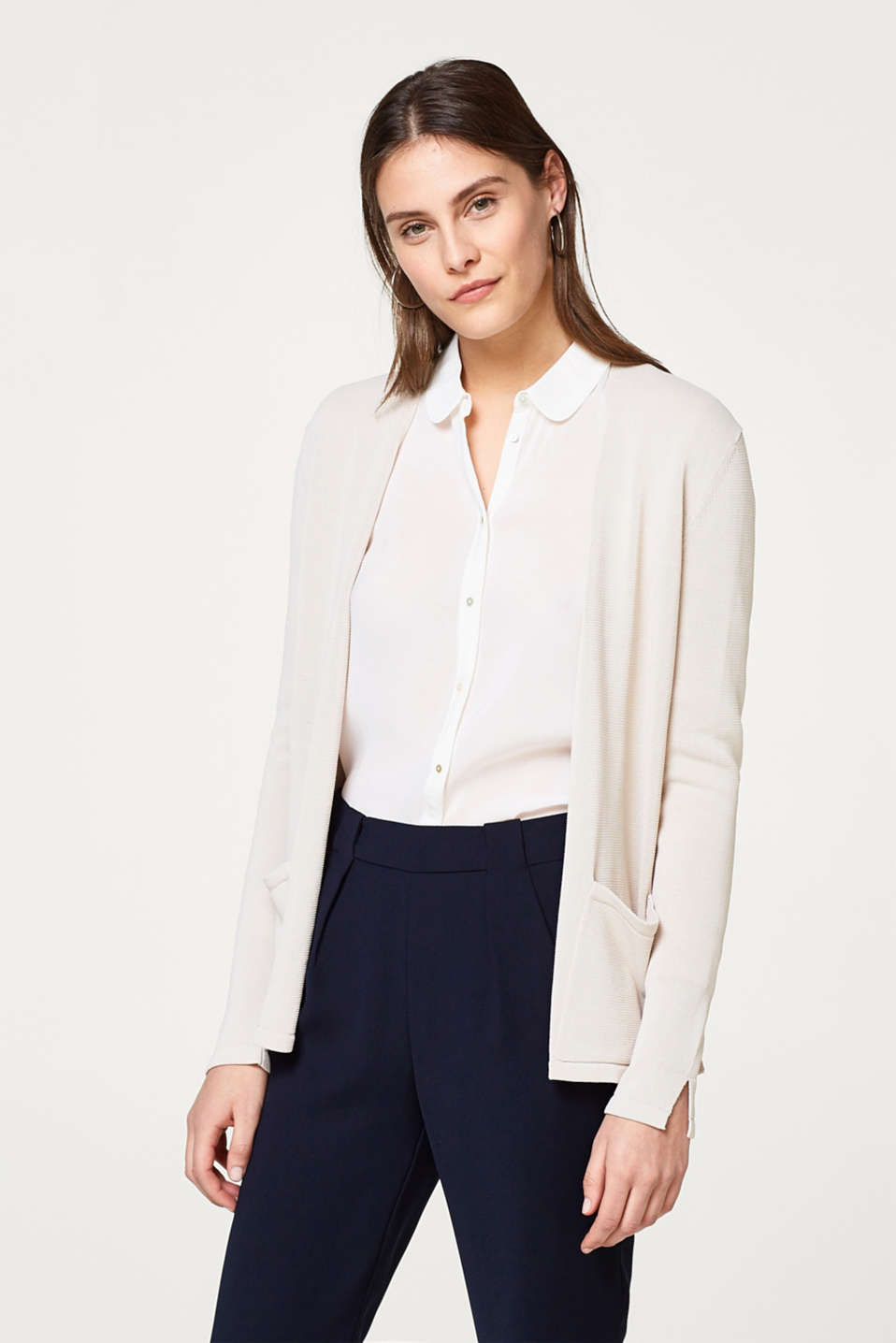 Esprit - Open-fronted cardigan in softly draped fine knit