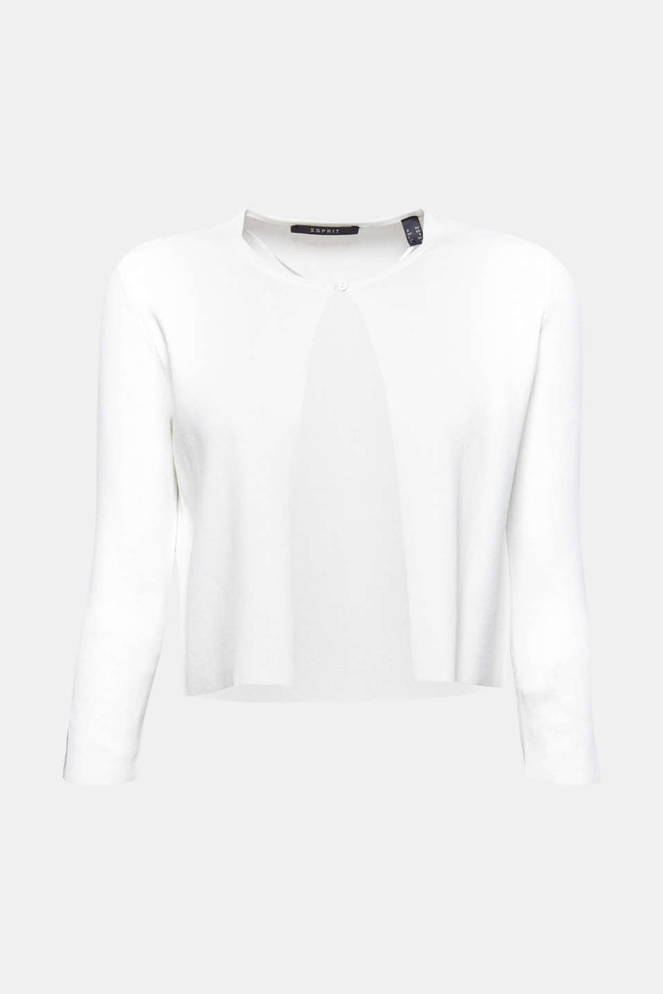 This straight cut, fine knit bolero with sleeve vents is chic and extremely versatile for creating outfits.