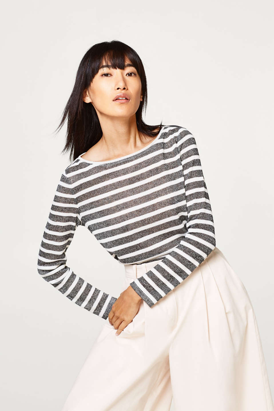 Esprit - Airy long sleeve top with stripes