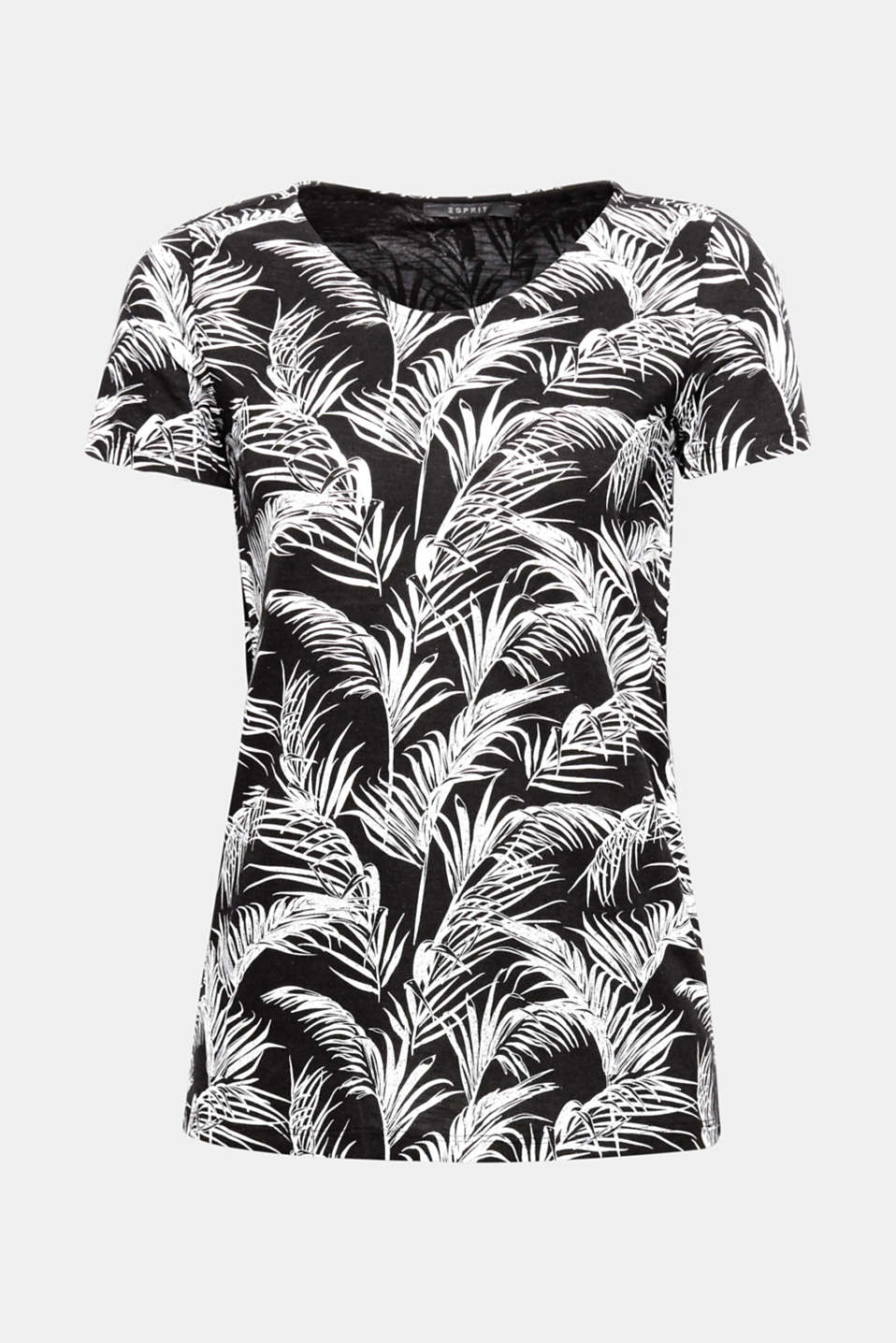 Palm prints are on trend and have a summery and elegant look thanks to the subtle glitter finish on this slub T-shirt with an airy texture!