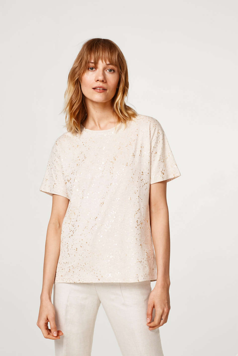 Esprit - Melange top with shiny speckles, 100% cotton