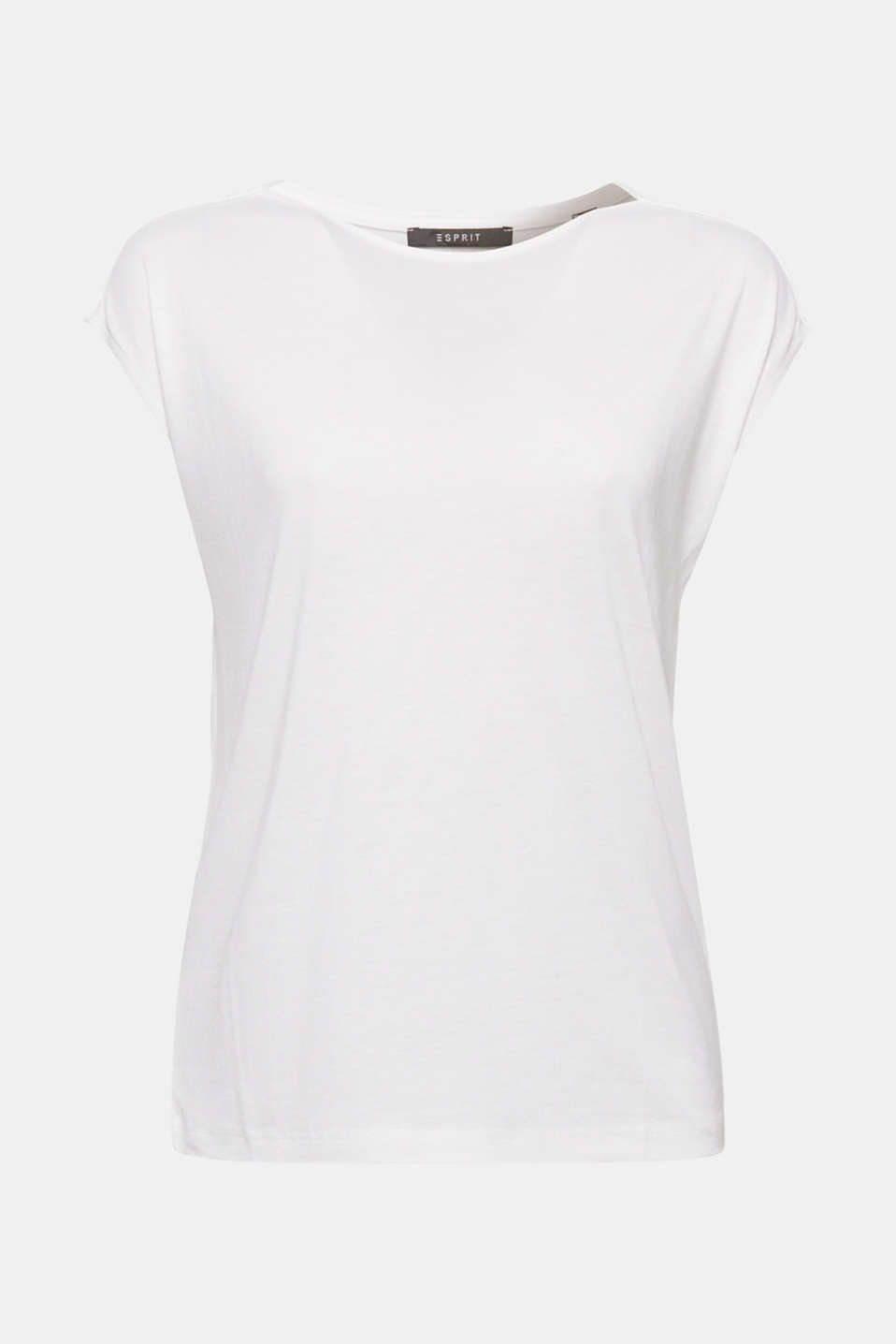 The style of this lightweight top with dropped shoulders and piped shoulder seams in versatile and elegant!