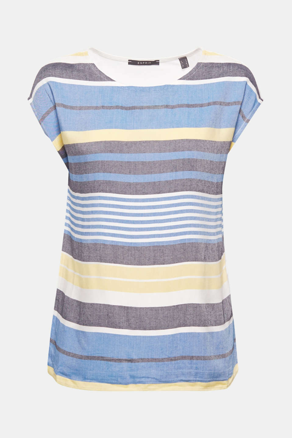 This casual blouse top with trendy colour block stripes comes with a woven front section and a soft jersey back for a high level of comfort!