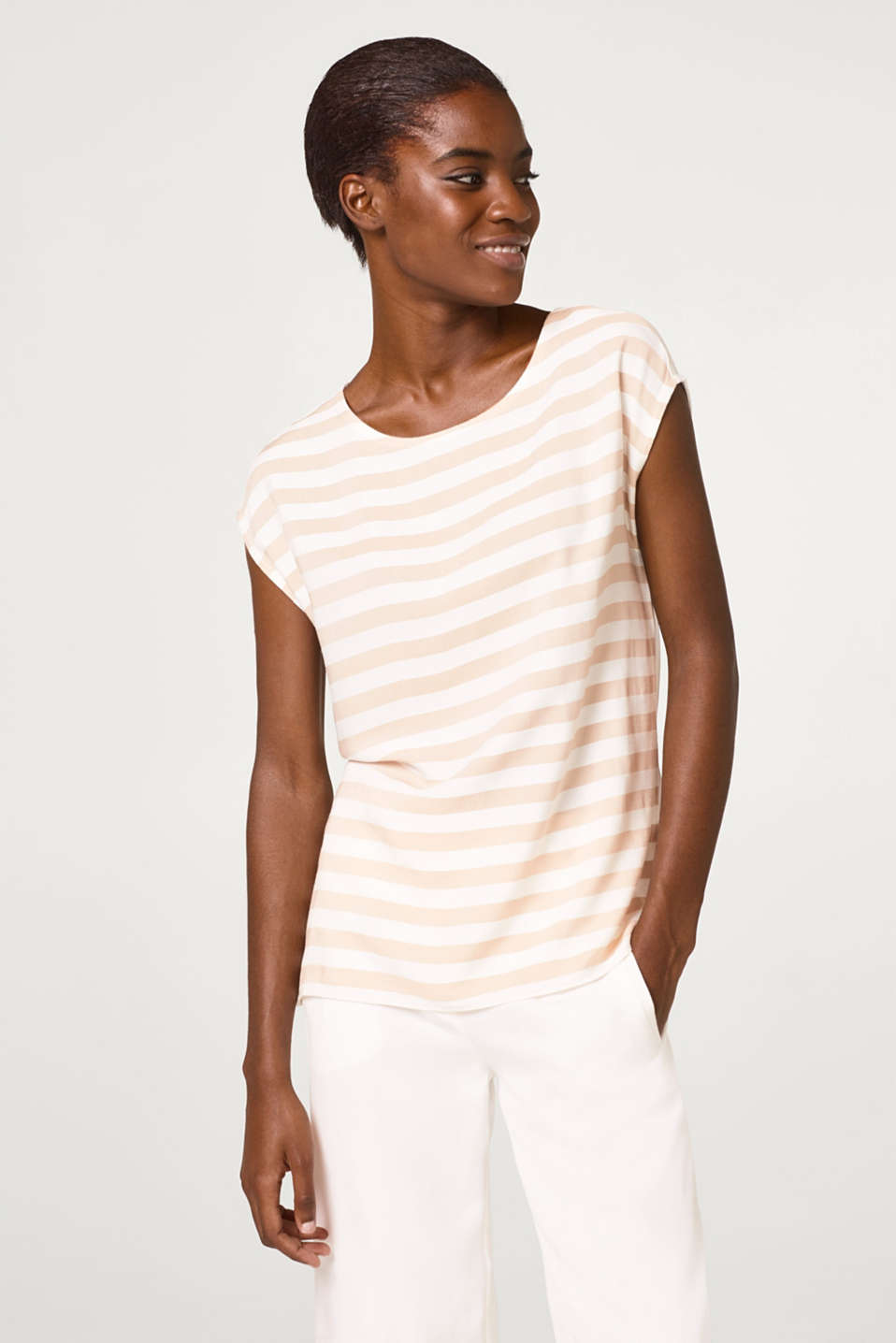 Esprit - Blouse top with striped front